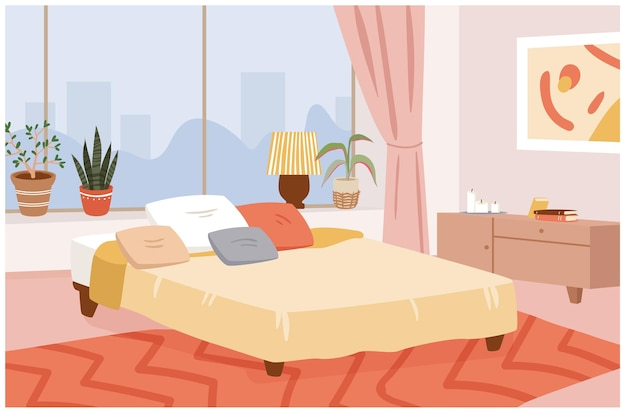 Bedroom hygge home interior vector illustration. cartoon scandinavian interior room design apartment with modern panoramic window, cozy bed and pillows, house plants, candles and lamp background