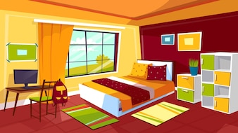 Bedroom illustration of teenager girl or boy room interior background.