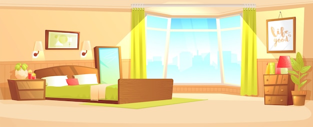 Bedroom indoor interior banner concept. cozy hotel room for couple. luxury furniture.