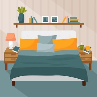 ベッドルームインテリア枕付きベッド本棚ベッドサイドテーブルランプ付き