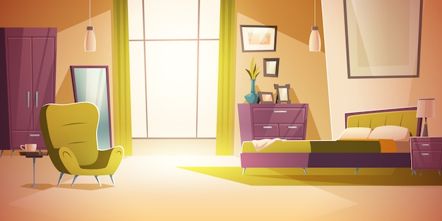 Bedroom interior cartoon, double bed, wardrobe