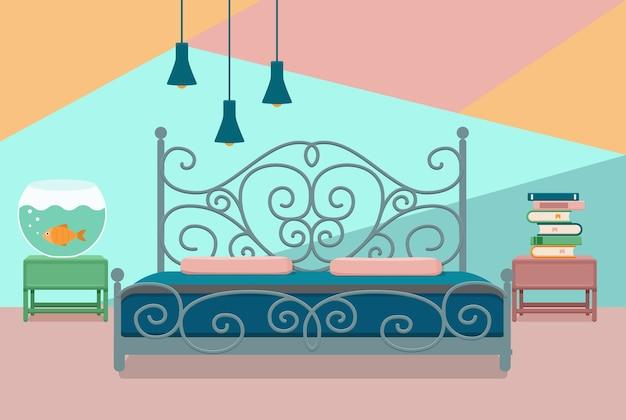 寝室のインテリア。ホテルのアパートの家具のベッド、水族館、ランプ、家の本のカラフルなイラスト。