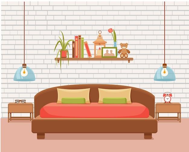 Интерьер спальни. красочная иллюстрация кровати мебели квартиры гостиницы, тумбочки, лампы, комнатного растения.