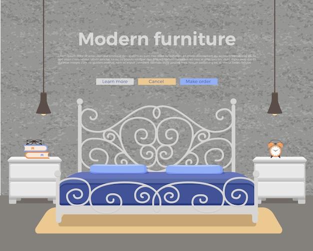 寝室のインテリア。ホテルのアパートの家具のベッド、ベッドサイドテーブル、ランプ、観葉植物のカラフルなイラスト。
