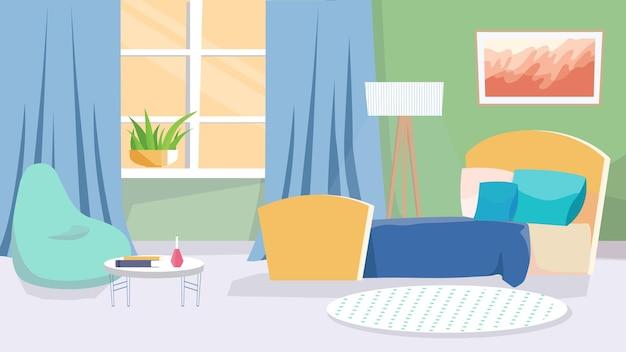 Концепция интерьера спальни в плоском мультяшном дизайне. кровать с подушками, кресло-сумка, журнальный столик, окно с занавесками, растениями и декором. квартира внутри. векторная иллюстрация горизонтальный фон