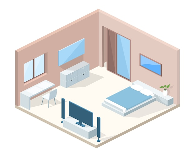 Bedroom interior cross section illustration