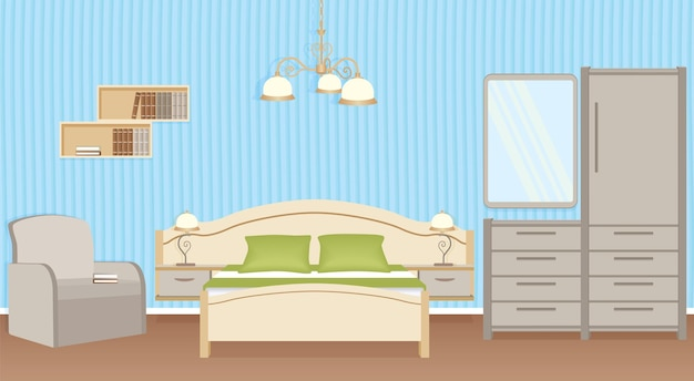 ベッド、アームチェア、ウォールランプ、寝室の家具を備えた寝室のインテリアデザイン。国内の部屋のデザイン。