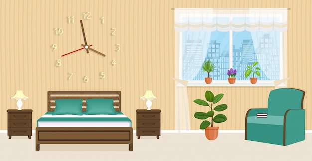Bedroom interior design with bed, bedside tables, armchair and big clock on the wall.