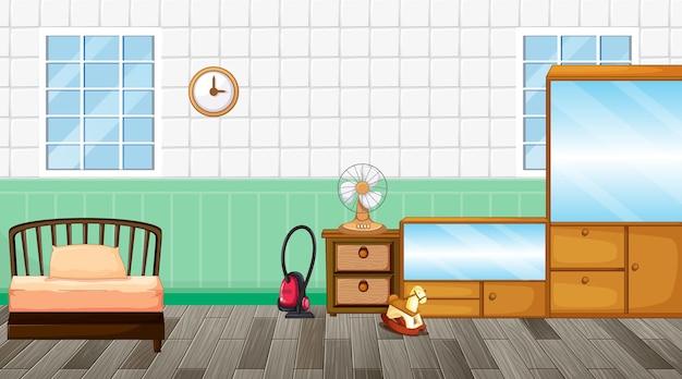 Bedroom interior design with furniture