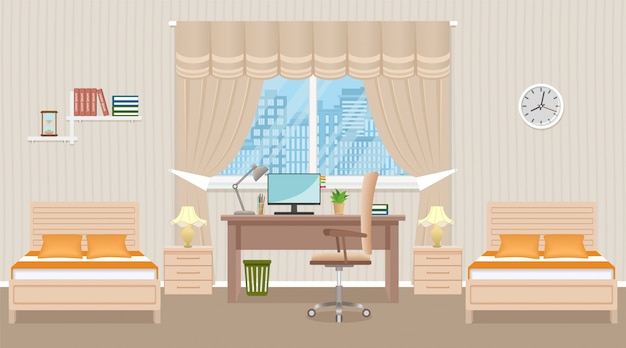 Bedroom interior design with two beds, table, desktop computer and window. domestic room  light beige colors.