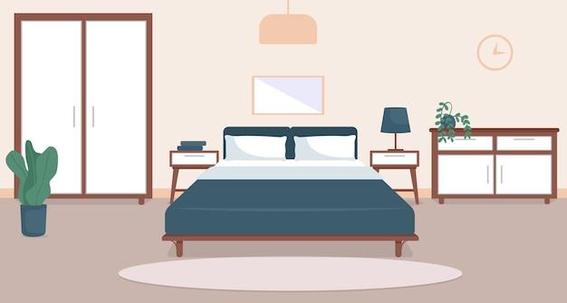 寝室のインテリアフラットカラーイラスト。居心地の良いリビングルーム。住宅のライフスタイル。ダブルサイズのベッド