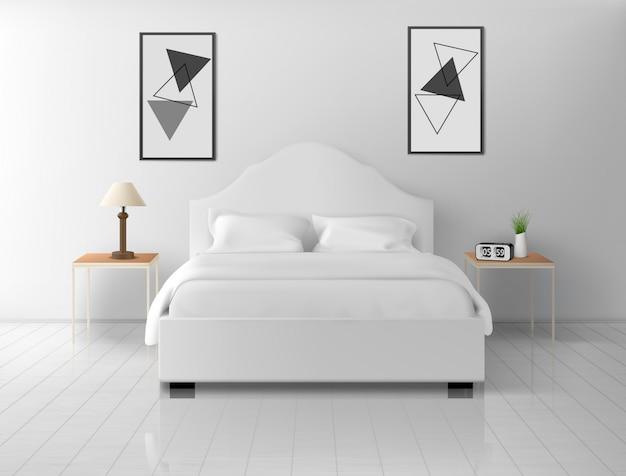 寝室のインテリア、家やホテルの空のアパート