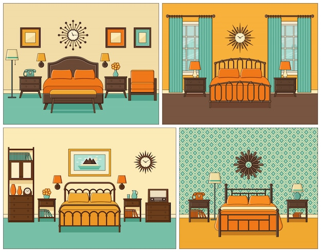 Bedroom interior. hotel room in retro design.   illustration.