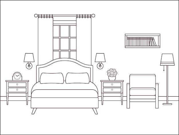 침실 인테리어입니다. 더블 침대가 있는 호텔 방. 벡터 일러스트 레이 션.