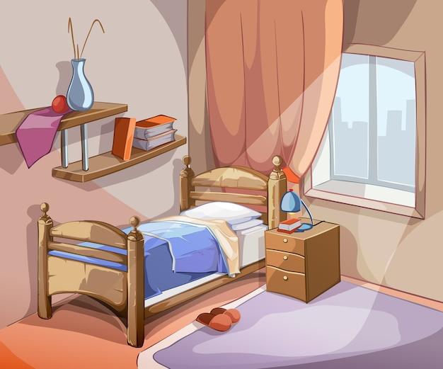Интерьер спальни в мультяшном стиле. мебель дизайнерская кровать в помещении квартиры. векторная иллюстрация