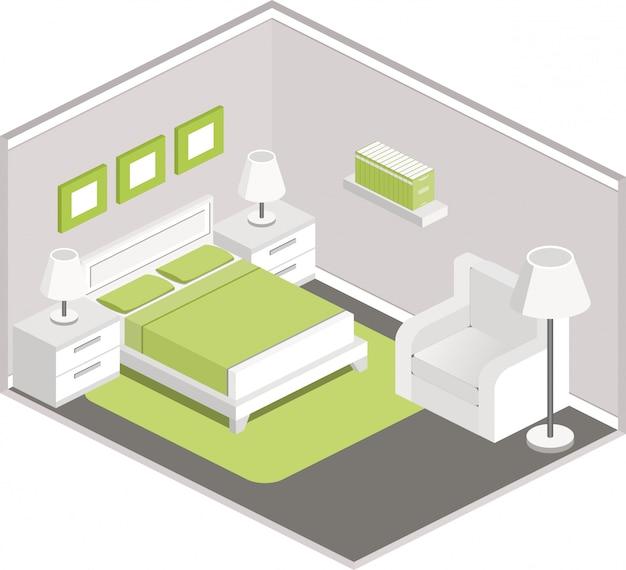 Bedroom interior in isometric style,