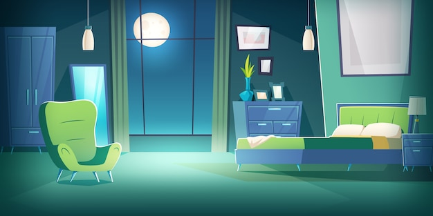 Bedroom interior at night with moonlight cartoon