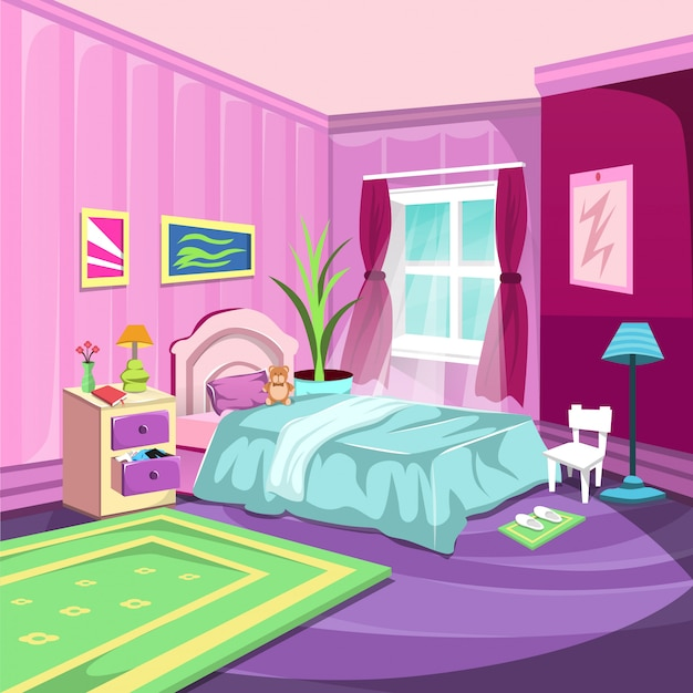 Bedroom interior room with large window and pink curtain