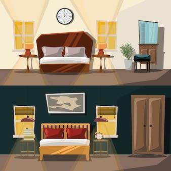 寝室のインテリアセットのベクトル図