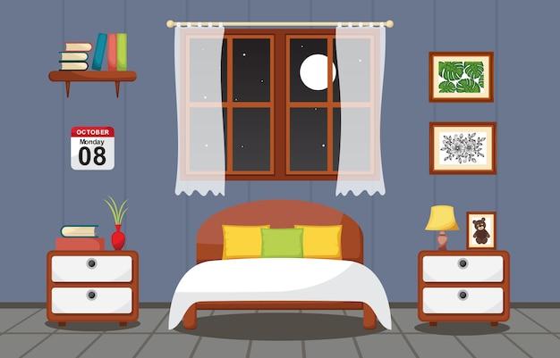 Bedroom interior sleeping room flat design illustration