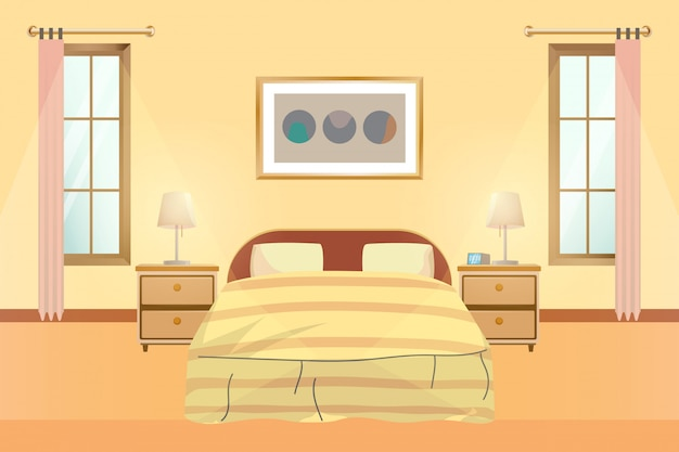 Bedroom interior vector illustration.