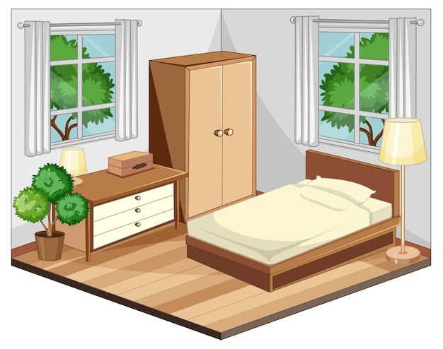 Bedroom interior with furniture in beige theme