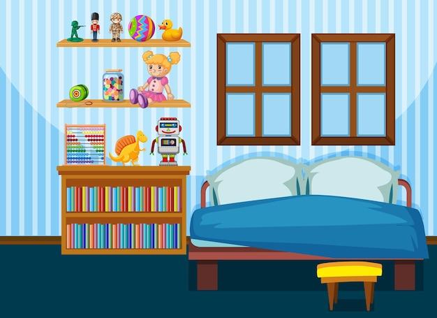 파란색 테마의 가구가있는 침실 인테리어