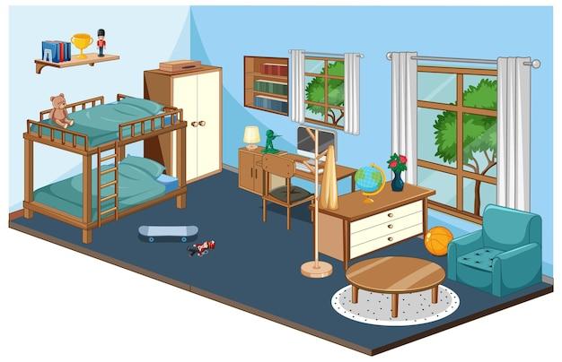 青いテーマの家具と寝室のインテリア