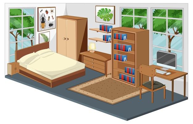 현대적인 스타일의 가구가있는 침실 인테리어
