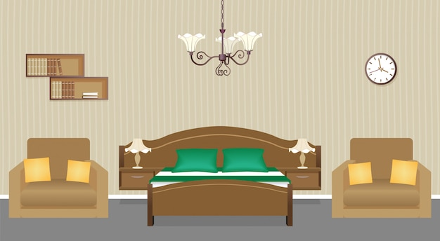 Bedroom interior  with two armchairs, bed, clock and bookshelf on the wall. domestic room design.