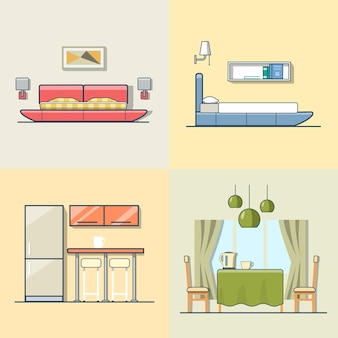 Bedroom kitchen living dining room interior indoor set. linear multicolor stroke outline flat style  icons. color collection.