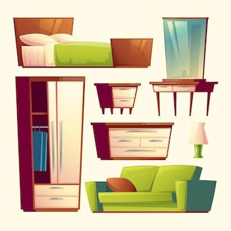 寝室、リビングルームインテリア家具漫画のオブジェクトセット