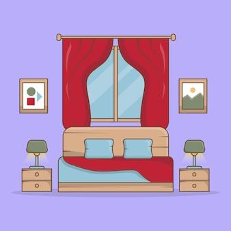 Современная спальня с большой кроватью и лампой