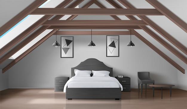 屋根裏部屋、モダンな家のマンサードインテリアの寝室