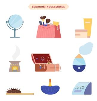 침실 또는 탈의실 액세서리 평면 삽화 세트. 거울, 메이크업 브러쉬, 크림, 아로마 램프, 보석 상자, 가습기, 헤어 브러시, 향수병, 알람 시계가있는 화장품 가방.