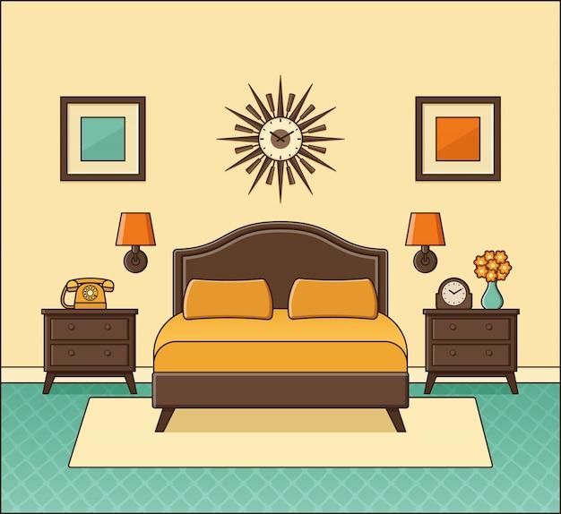 Bedroom retro interior. hotel room in flat design. vector illustration.