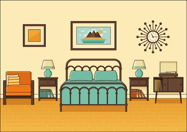 Bedroom retro interior. hotel room in flat .  illustration.