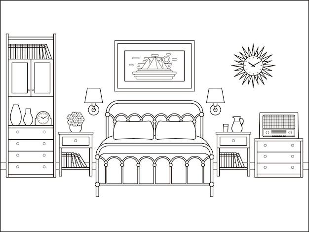 침실 복고풍 인테리어입니다. 침대가 있는 호텔 방. 집 평면 디자인입니다. 라인 아트의 홈 공간. 블랙 화이트 스케치