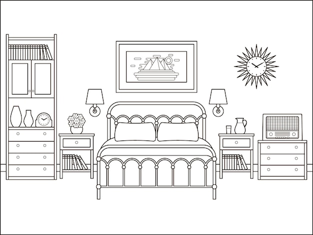 Bedroom retro interior. hotel room with bed. house flat design. home space in line art. black white sketch