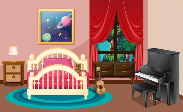 Bedroom scene with piano and bed