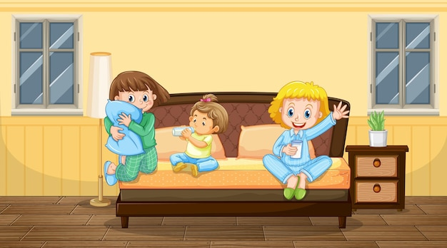Bedroom scene with three children in pajamas