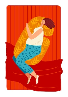 寝室の睡眠ベッドは枕眠い女の子に横たわっている目覚まし時計を開始します