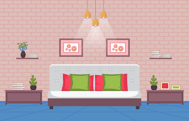 Bedroom sleeping room bed interior design modern house illustration