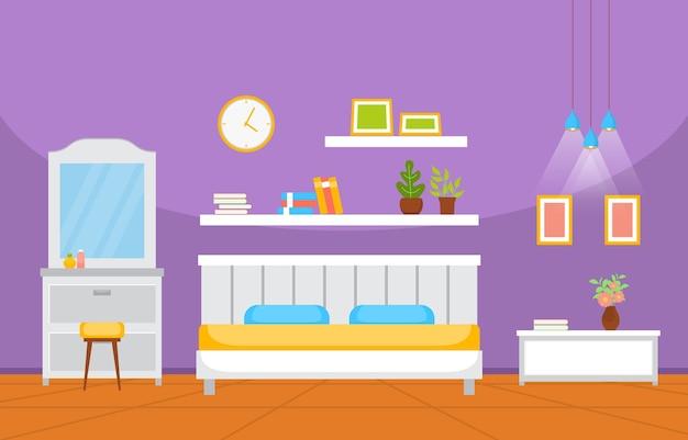 Спальня спальня кровати дизайн интерьера современный дом иллюстрация