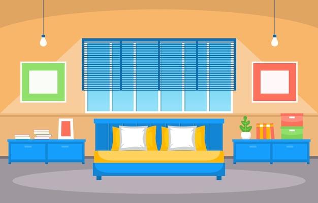 ベッドルームスリーピングルームベッドインテリアデザインモダンハウスイラスト