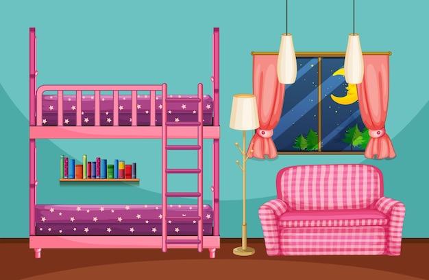二段ベッドとピンクのソファ付きのベッドルーム
