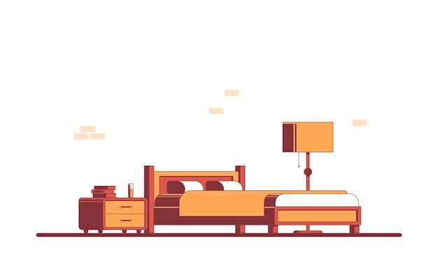 Спальня с мебелью. плоский интерьер иллюстрации.