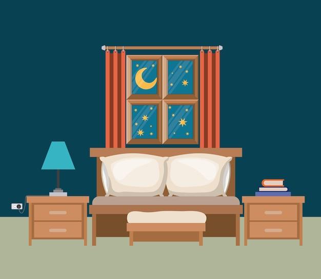 밤 풍경보기에서 창 침실