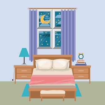 밤 풍경에 창 침실