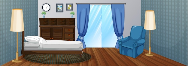 Bedroom with wooden furniture and blue armchair